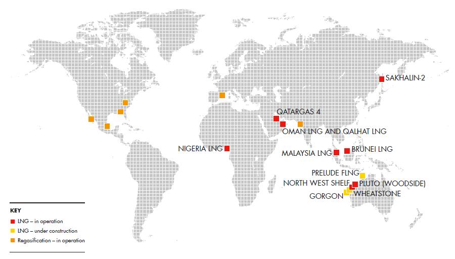 Royal dutch shell plc investors handbook 2007 2011 imagepopup global lng portfolio for lng and regasification world map gumiabroncs Choice Image