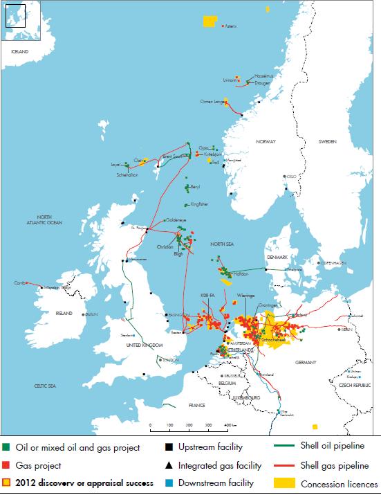 North Sea Europe Map.Royal Dutch Shell Plc Investors Handbook 2008 2012 North West Europe