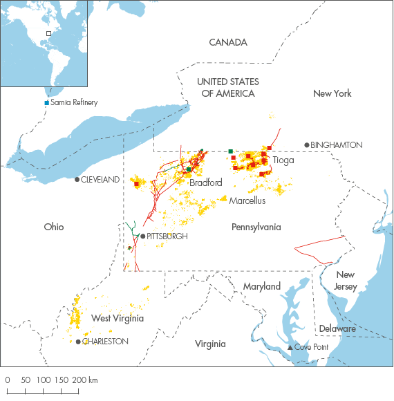 North America Shell Investors Handbook - Map of north east usa and canada